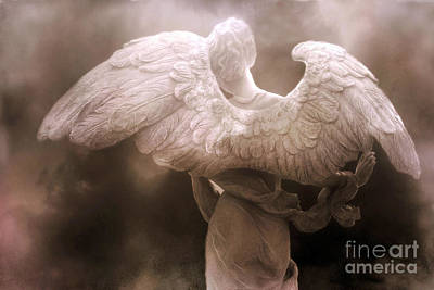 Surreal Dreamy Angel Art Wings - Ethereal Sepia Angel Art Wings Poster by Kathy Fornal