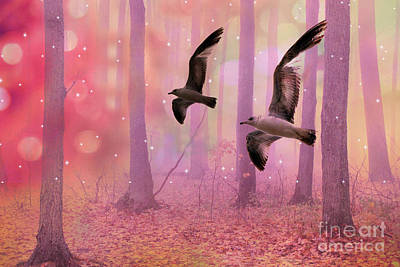 Surreal Fairytale Fantasy Nature Bird Woodland Landscape Poster by Kathy Fornal
