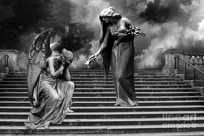 Surreal Fantasy Angels Weeping Black And White Print - Angels Cry Too Poster by Kathy Fornal