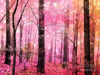 Surreal Fantasy Fairytale Pink Forest Woodlands - Pink Fairytale Fantasy Woodlands  Poster by Kathy Fornal