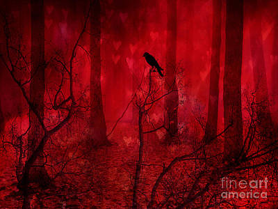 Surreal Fantasy Gothic Red Woodlands Raven Trees Poster by Kathy Fornal