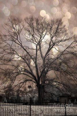 Surreal Fantasy Gothic South Carolina Sepia Oak Trees And Fantasy Bokeh Circles Poster by Kathy Fornal