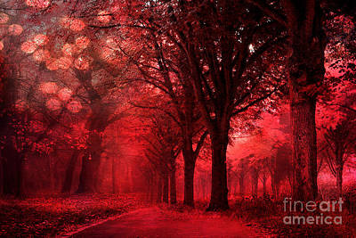 Surreal Fantasy Red Forest Woodlands Nature Poster by Kathy Fornal
