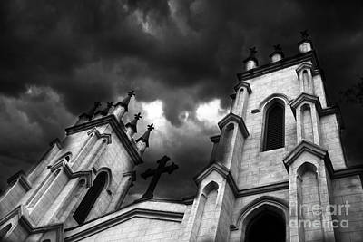 Surreal Gothic Black And White Church Steeple With Cross - Haunting Spooky Surreal Gothic Church Poster by Kathy Fornal