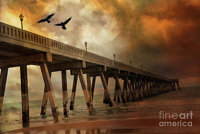 Surreal Haunting Fishing Pier Ocean Coastal - North Carolina Coast Pier  Poster by Kathy Fornal