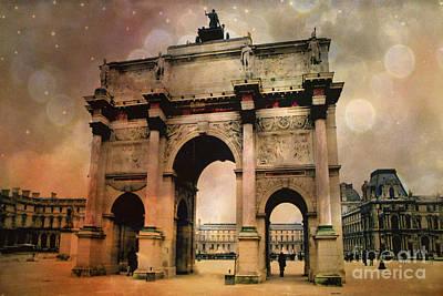 Surreal Paris Arc De Triomphe Louvre Arch Courtyard Sepia Soft Bokeh Poster by Kathy Fornal