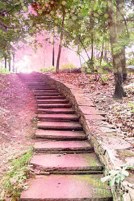 Surreal Pink Fantasy Dream Staircase In Woodlands Forest - Pink Stairs Pathway Poster by Kathy Fornal