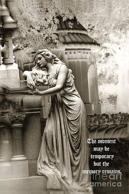 Surreal Romantic Female Cemetery Mourner At Grave Poster by Kathy Fornal