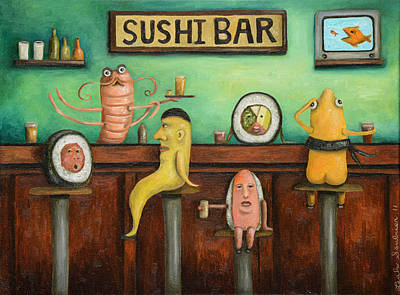 Sushi Bar Updated Image Poster by Leah Saulnier The Painting Maniac