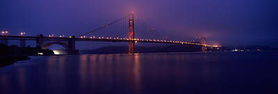 Suspension Bridge Lit Up At Dawn Viewed Poster by Panoramic Images