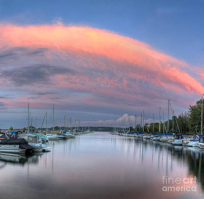 Sutton's Bay Marina At Sunset Poster by Twenty Two North Photography
