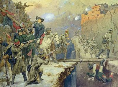 Suvorov Crossing The Devils Bridge In 1799, 1880 Wc On Paper Poster by Aleksei Danilovich Kivshenko