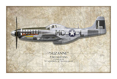 Suzanne P-51d Mustang - Map Background Poster by Craig Tinder
