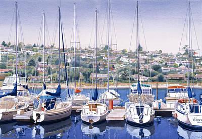 Sw Yacht Club In San Diego Poster by Mary Helmreich