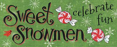 Sweet Snowmen Sign II Poster by Anne Tavoletti