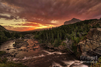 Swiftcurrent River Sunrise Poster by Mark Kiver