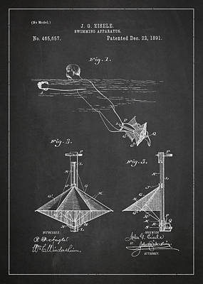 Swimming Apparatus Patent Drawing From 1891 Poster by Aged Pixel