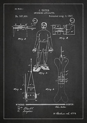 Swimming Apparatus Patent Drawing From 1897 Poster by Aged Pixel