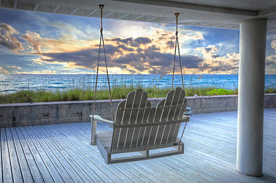 Swing At The Beach Poster by Debra and Dave Vanderlaan