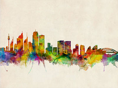 Sydney Skyline Poster by Michael Tompsett