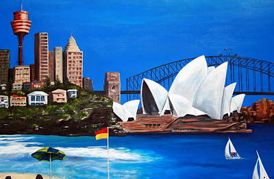Sydneyscape - Featuring Opera House Poster by Lyndsey Hatchwell
