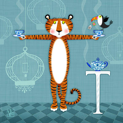 T Is For Tiger Poster by Valerie Drake Lesiak