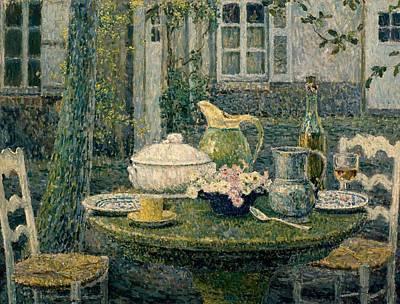 Table Laden For Spring Poster by Henry Eugene Le Sidaner