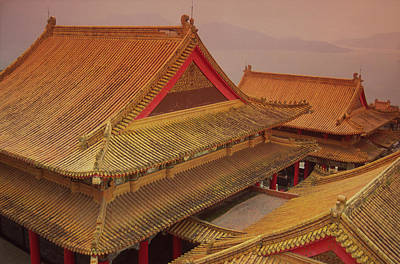 Taiwan, Wenwu Temple Rooftops With Sun Poster by Jaynes Gallery