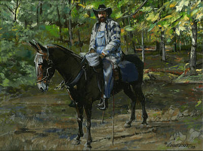 Tennessee Man On Mule Poster by Don  Langeneckert