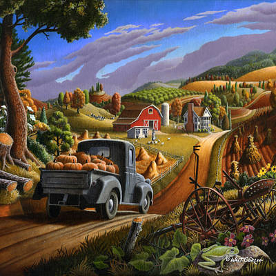 Farm Americana - Taking Pumpkins To Market Country Farm Landscape - Square Format Poster by Walt Curlee
