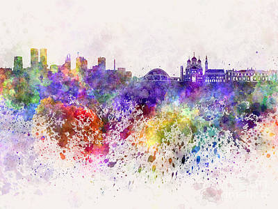 Tallinn Skyline In Watercolor Background Poster by Pablo Romero