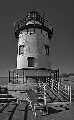 Tarrytown Lighthouse Bw Poster by Susan Candelario