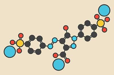 Tartrazine Food Dye Molecule Poster by Molekuul