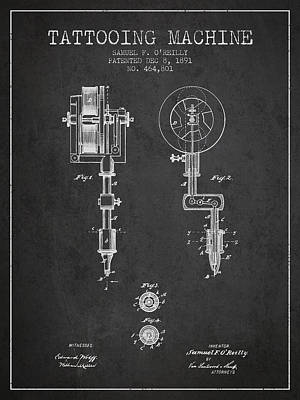 Tattooing Machine Patent From 1891 - Charcoal Poster by Aged Pixel