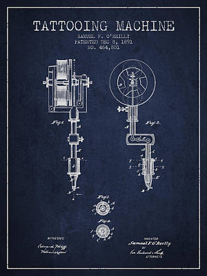 Tattooing Machine Patent From 1891 - Navy Blue Poster by Aged Pixel