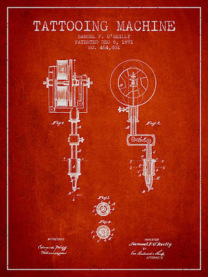 Tattooing Machine Patent From 1891 - Red Poster by Aged Pixel