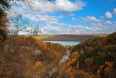 Taughannock River Canyon In Colorful Fall Ithaca New York Iv Poster by Paul Ge