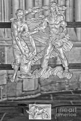 Taurus Zodiac Sign - St Vitus Cathedral - Prague - Black And White Poster by Ian Monk