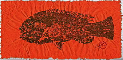 Tautog On Sienna Thai Unyru / Mulberry Paper Poster by Jeffrey Canha