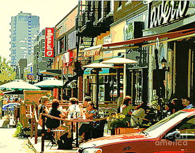 Tavern In The Village Urban Cafe Scene - A Cool Terrace Oasis On A Busy Hot Montreal City Street Poster by Carole Spandau
