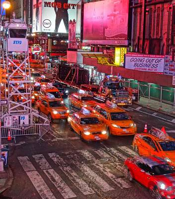 Taxis In Times Square Poster by Dan Sproul