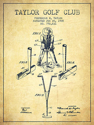 Taylor Golf Club Patent Drawing From 1905 - Vintage Poster by Aged Pixel