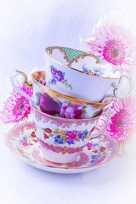 Tea Cups With Pink Mums Poster by Garry Gay