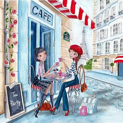 Tea In Paris Poster by Caroline Bonne-Muller
