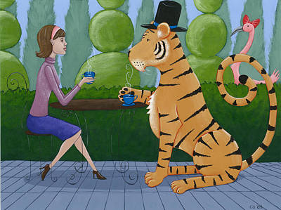 Tea With A Tiger Poster by Christy Beckwith