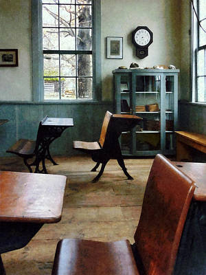 Teacher - One Room Schoolhouse With Clock Poster by Susan Savad