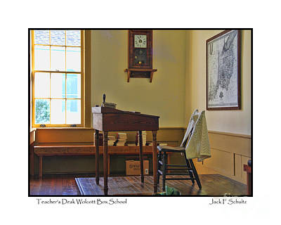 Teachers Desk Wolcott Box Schoolhouse  2671 Poster by Jack Schultz