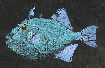 Gyotaku Triggerfish Poster by Captain Warren Sellers