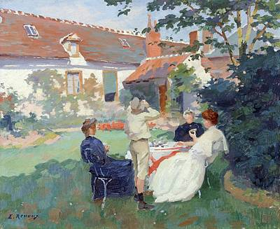 Teatime Oil On Canvas Poster by Jules Ernest Renoux