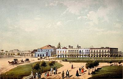 Teatro De Tacon And Part Of Paseo De Poster by Federico Mialhe
